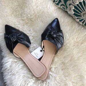 Zara leather bow mule slip on